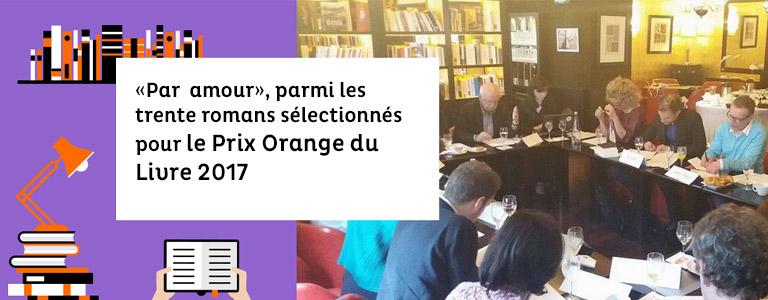 Par amour sélectionné pour le Prix Orange des Lecteurs 2017